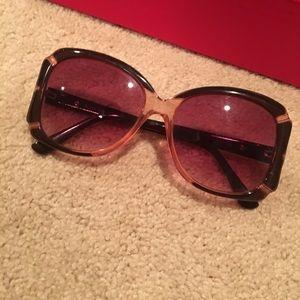 Betsey Johnson Oversized Light Brown Sunglasses